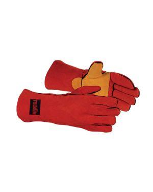 Guante soldadura serraje rojo reforzado